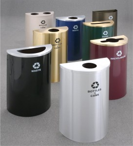 Half Round RecyclePro Recycling Receptacles by Glaro Inc.