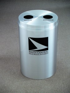 Custom All Metal Waste Receptacle With Company Logo and Messaging