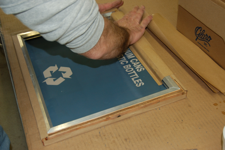 Silk Screen Screens : Custom silk screened messaging on recycling receptacles vs
