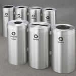 Glaro Satin Aluminum Modular Recycling Receptacle Stations