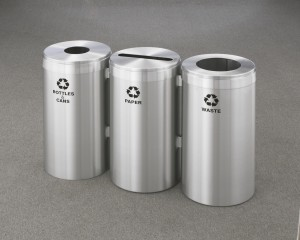 Glaro Satin Aluminum RecyclePro Recycling Receptacles in Connected Units