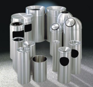 Satin Aluminum Waste Receptacles