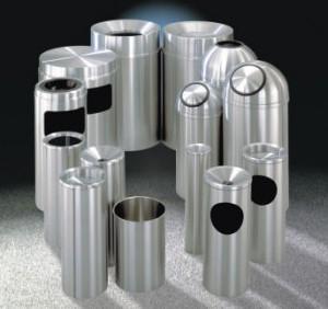 Satin Aluminum Waste Receptacles